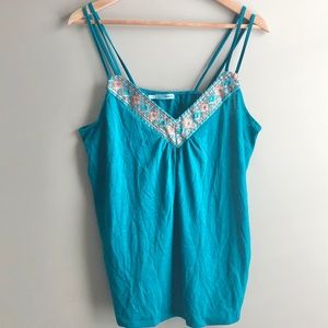 Maurices Emerald Green and Gold Double Strap Tank